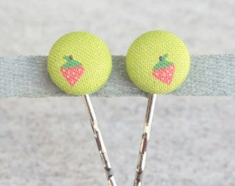 Sweet Strawberry Fabric Covered Button Bobby Pin Pair
