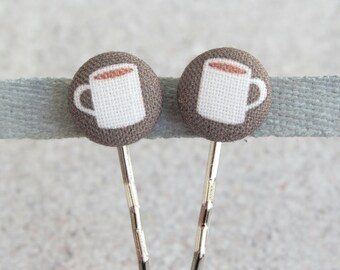 Cup of Coffee, Fabric Covered Button Bobby Pin Pair