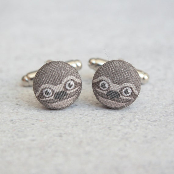 Sloths, Fabric Covered Button Cufflinks