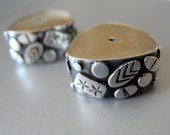 Bali Sterling Silver Large Oxidized Wafer Heishi Bead Triangle 17mm 8mm