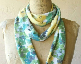 One of a kind Watercolor floral tubular infinity scarf