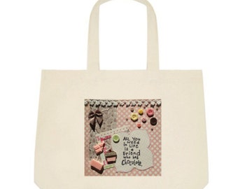 Chocolate Tote Bag in pink with brown bow