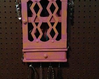Upcycled Jewelry Holder Organizing Display Cabinet (Pink and Orange)