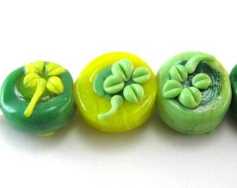 Green Shamrock Clover Bead Set of 5