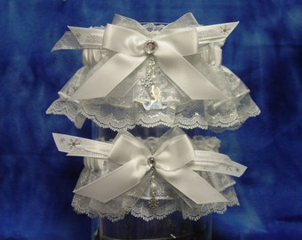 Elsa Frozen White and Silver Wedding Garter Set