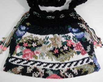 10x14 Knit & Crochet Sweater Purse Victorian Restyle Embroidery Colorful Floral Black Beaded Handle Handbag Drawstring Tassels Crossbody Bag