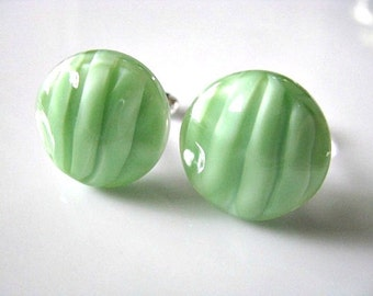 Honeydew Melon Green Vintage Baroque Glass Cufflinks, Mens Accessory Jewelry, Gift For Him, Gift For Dad, Christmas Holiday Gift Idea