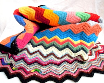 vintage chevron wool afghan/throw.handmade.vibrant.orange.lime.cherry.umber.cabin.mountains.tessiemay vintage