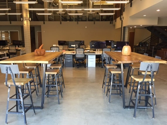 High top communal table made with steel legs and reclaimed - Restaurant communal tables ...