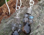 Brown Topaz and Labradorite Faceted Briolette Earrings