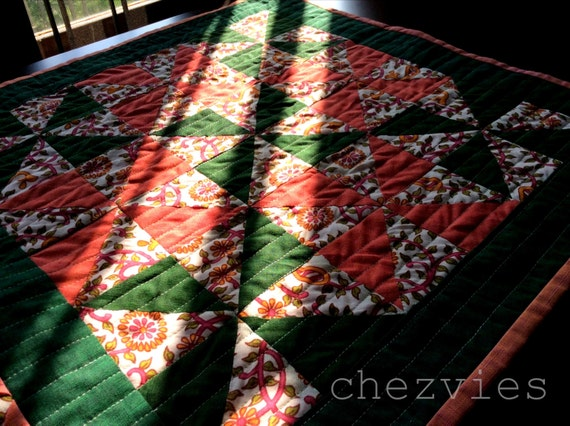 Quilted square table runner pinwheel in green and orange rustic country style home decor