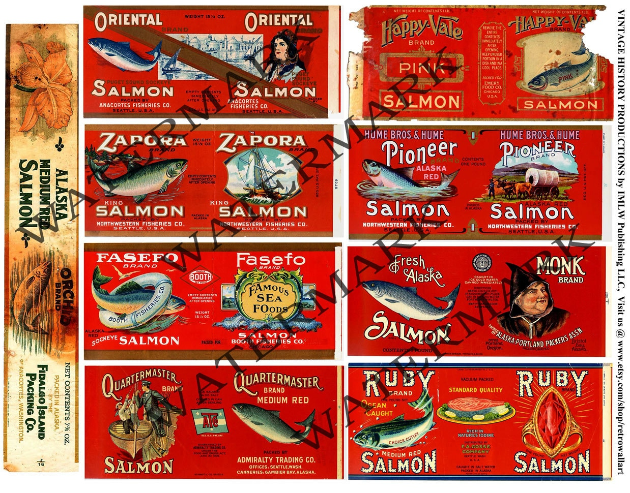 Salmon can labels old fishery vintage cannery packing for Classic house labels