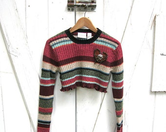 M - L Multicolored Striped Cropped Sweater, Cropped Boho Sweater, Red Striped Sweater, Lagenlook Sweater, Urban Chic,Indie Clothes