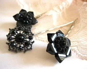 Black vintage earring bobby pins, black hair pins, vintage bobby pins, set of three bobby pins, bridal hair pins