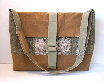 """HALF PRICE! Rust Brown Waxed Canvas/Recycled Wool Messenger bag, Mens 15"""" laptop Bag, 15"""" Macbook bag, Shoulder bag, Brown Plaid, Brown Wool"""