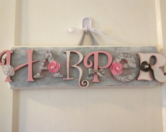 Custom Kids Name Sign - Nursery Wall Letters Name Sign - Custom Children's Shabby Chic Name Plaque 6 Letters