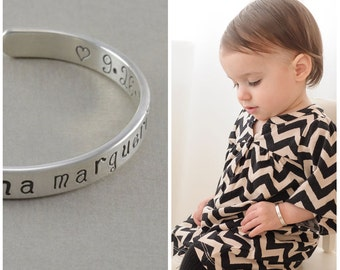 Childs Cuff Bracelet, hand stamped sterling silver, bangle bracelets shower gift 1st birthday little girl cuffs, personalise ANNA MARGUERITE