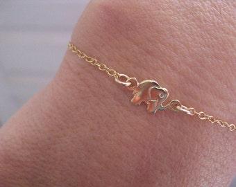 Elephant Bracelet, Gold Elephant Charm, Gold Elephant Bracelet, Dainty Bracelet, Elephant Jewelry, Goldfilled Lucky Elephant