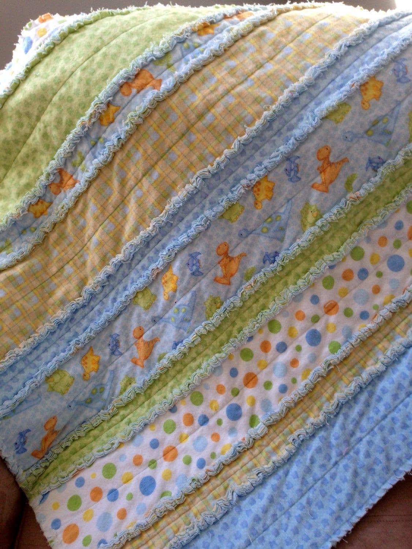 Boy Flannel Rag Quilt Dinosaurs Soft Blue Green Plaid