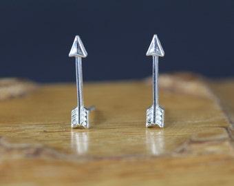 Arrow Earrings 925 Sterling Silver - Arrow Stud Earrings - Arrow Studs - Stocking Stuffer Gift Idea Under 15