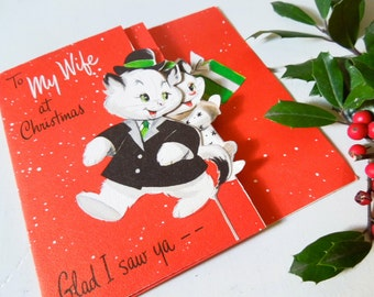 Vintage Used Greeting Card,Merry Christmas to Wife, Cute Cat Couple, ON SALE