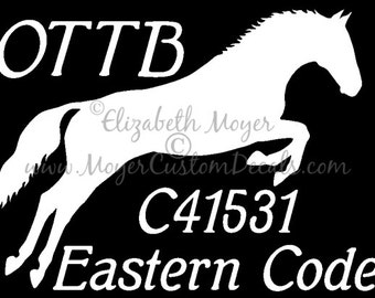 OTTB Off Track Thoroughbred Jumper Custom Name and Tattoo Number Decal Sticker YOU Choose Color!