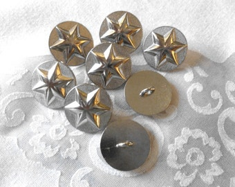 Vintage Italian Silver Buttons, Chrome Finish Star Buttons, Made in Italy, 8 in lot, Metal Loop Shank, Nautical, Military, Sturdy Buttons