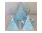 Ceramic Pyramid Tea Set, Light Blue Splatter, Teapot, Creamer Dish & Sugar Bowl, Ball Tops