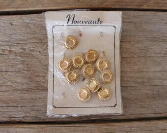 Vintage Gold Nouveaute Buttons, Set of 11