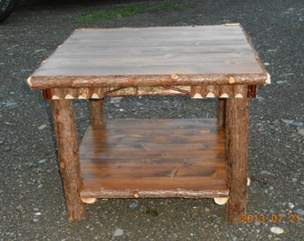 Rustic Handcrafted Cedar and White Birch Twig End Table Log Furniture Log Cabin Decor