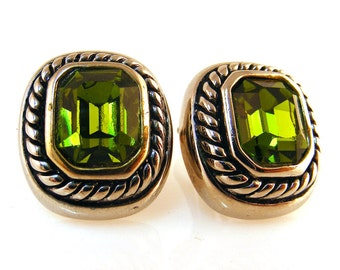 Vintage Rhinestone Earrings Green Clip On Signed JC