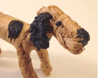 Vintage 70s Miniature Straw Dog - Raffia Hound with Green Collar - Made in Germany