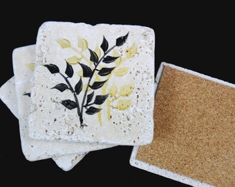 Coasters Gold Black Leaves Stone Coasters Hand Painted Set of 4
