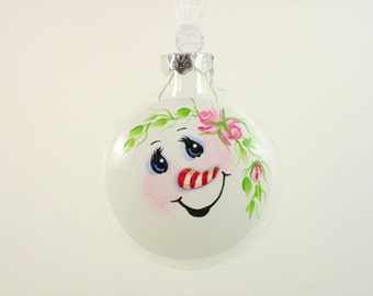 Snowman Ornament Hand Painted Glass Pink Roses Candy Cane Nose