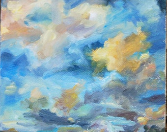 Sky painting, Cloud painting, Sunset Painting, Impressionistic clouds, Skyscape, Stormy clouds, blue, Original oil by Carol DeMumbrum