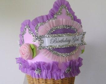 Birthday party Hat, birthday party crown, pink and purple birthday hat, princess birthday hat, girls birthday hat