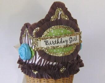 Birthday part crown, birthday party hat, zebra birthday hat, BIRTHDAY GIRL or anything you want -Brown zebra- adult or child