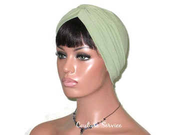 Green Turban,  Women's Green Turban, Green Fashion Turban, Green Turban Hat, Full Green Turban, Handmade, Banded Single Knot, Sage, Olive