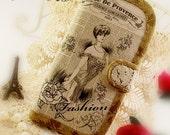 Samsung Galaxy s4 iPhone 6 Plus iPhone 6 iPhone 5 iPhone 4s Wallet Natural Linen Cotton Vintage Newspaper Paris Fashoin