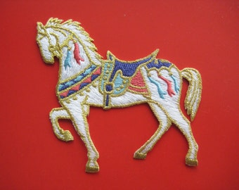 Iron-on Embroidered Patch White Horse 3.5 inch