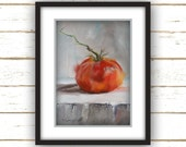 Modern Wall Decor - Colorful - Wall Decor - Linen Textured Paper Print Reproduction from Original Oil Painting - Tomato with Stem