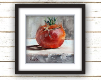 Tomato Ugly Painting Print - Original Fine Art Still Life Painting Print
