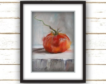 Tomato with Stem Painting Print - Original Fine Art Still Life Painting Print