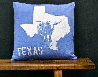 Texas Accent Pillow - Decorative Cotton Denim State Pillow - Texas Home Accessory