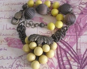 upcycled vintage yellow bead cluster pendant necklace~statement necklace~mixed media jewelry