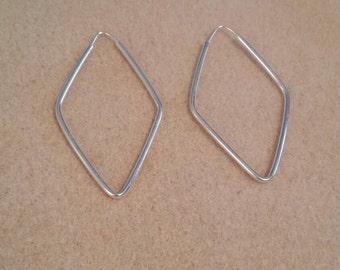 Diamond Shaped Sterling Silver Add a Bead Ear Wire