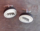 Custom Engraved Wood Laser Cut Cufflinks Cuff Links Bear Great Gift