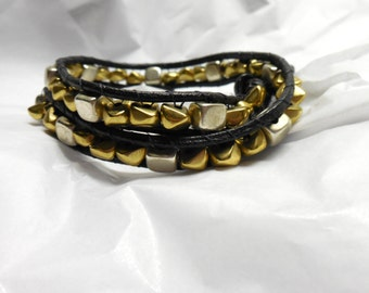 Silver and Gold Double Wrap Leather Bracelet