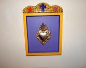 Home Decor, Milagro, Mexican Folk Art, Ex voto, Sacred Heart, Religious