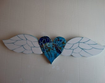 Heart with Wings Mosaic , wall decor.  Home Decor, Shabby Chic Cottage. Milliefiori glass,  blown glass